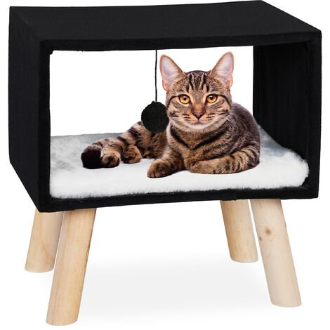 Relaxdays Cat Shelter, Retreat for Pets with Ball and Cushion, Play Tower, 41 x 40.5 x 30.5 cm, Black