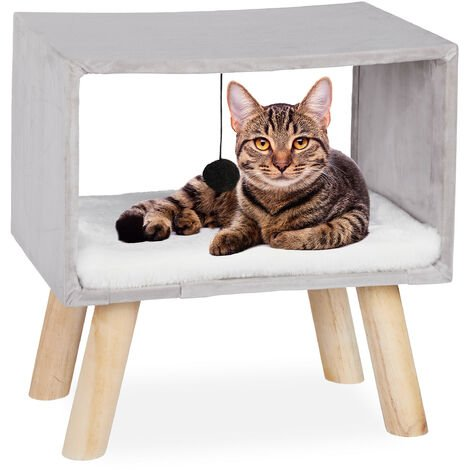 Relaxdays Cat Shelter, Retreat for Pets with Ball and Cushion, Play Tower, 41 x 40.5 x 30.5 cm, Grey