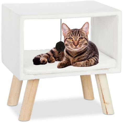 Relaxdays Cat Shelter, Retreat for Pets with Ball and Cushion, Play Tower, 41 x 40.5 x 30.5 cm, White