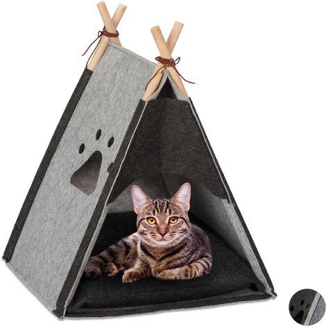 Relaxdays Cat Tent, Pet Teepee for Felines & Small Dogs, Felt & Wood, Cushion, HWD 57x46x45cm, Light Grey