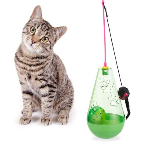 Relaxdays Cat Toy, 3in1, Interactive, Treat Tumbler, Teaser Wand Mouse & Ball with Bell, Kitten, Fun, Green