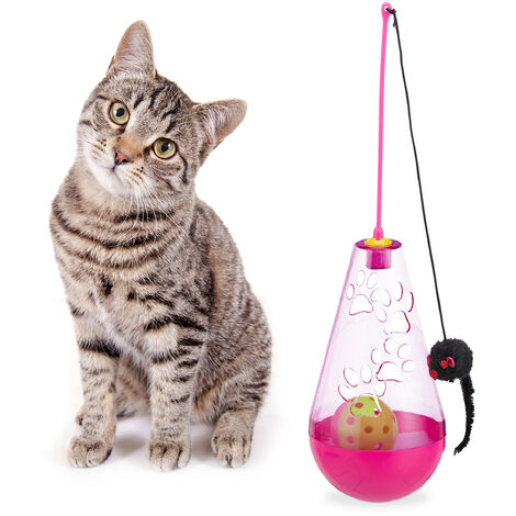 Relaxdays Cat Toy, 3in1, Interactive, Treat Tumbler, Teaser Wand Mouse & Ball with Bell, Kitten, Fun, Pink