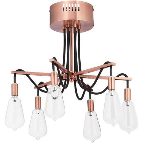 Relaxdays Ceiling Lamp, 6 Sockets with 12 V, Exceptional Design, Iron, HxD: 33x41 cm, Modern Living Room Light, Pink
