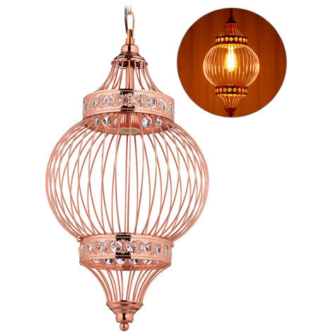 Relaxdays Ceiling Lampshade, Oriental, Polished Look, E27, Living- & Bedroom, Metal, Cage Look, HxW 151x27cm, Copper