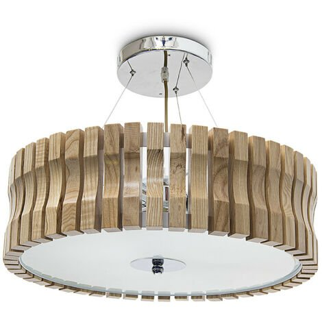 Relaxdays Ceiling Light Hanging Lamp with Frosted Glass, Height-Adjustable Light Wood for Coze Light, 3 Lights, 45 cm Diameter, Natural Colour