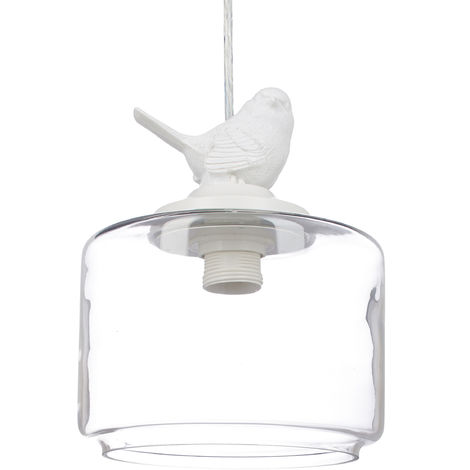 Relaxdays Ceiling Light with Bird, Deco Lamp in Vintage Retro Look, E27 Socket, Transparent
