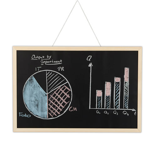 Relaxdays Chalkboard with Wooden Frame, Wipeable Memo Board, Office Accessory, Wall-Mount, 40 x 60 cm, Black