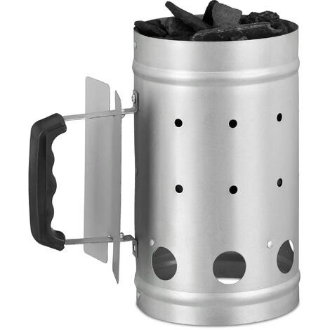 Relaxdays Charcoal Chimney Starter, Steel, BBQ Lighter, Stove, Grill, H x Dia: 27 x 16 cm, Grill Ignition, Silver