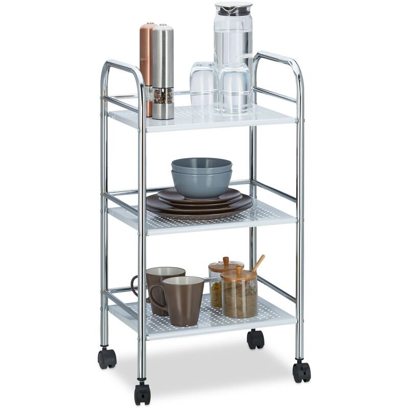 Relaxdays - Chariot à roulettes en métal avec 3 étages desserte de cuisine poignées bureau HxlxP: 75 x 40,5 x 31 cm, blanc