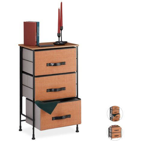 Relaxdays Chest of Drawers, 3 Removable Fabric Baskets, Decorative, Wood Look Top, Steel, 76.5x45x30 cmRed-Brown