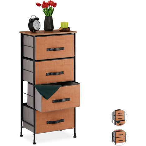 Relaxdays Chest of Drawers, 4 Removable Fabric Baskets, Decorative, Wood Look Top, Steel, 98.5x45x30 cmRed-Brown