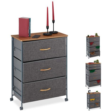 Relaxdays Chest of Drawers on Castors, 3 Fabric Drawers, Decor Fabric Stand, Wood Look, HWD 74.5 x 58 x 30 cm, Grey