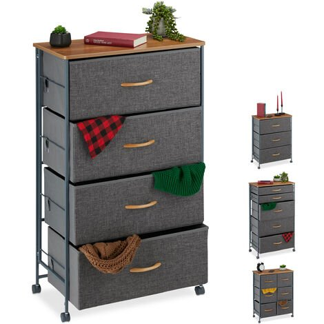 Relaxdays Chest of Drawers on Castors, 4 Fabric Drawers, Decor Fabric Stand, Wood Look, HWD 93 x 58 x 30 cm, Grey