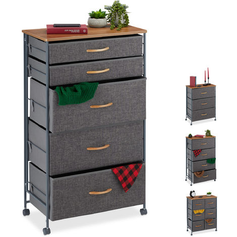Relaxdays Chest of Drawers on Castors, 5 Fabric Drawers, Decor Fabric Stand, Wood Look, HWD 96.5 x 58 x 30 cm, Grey