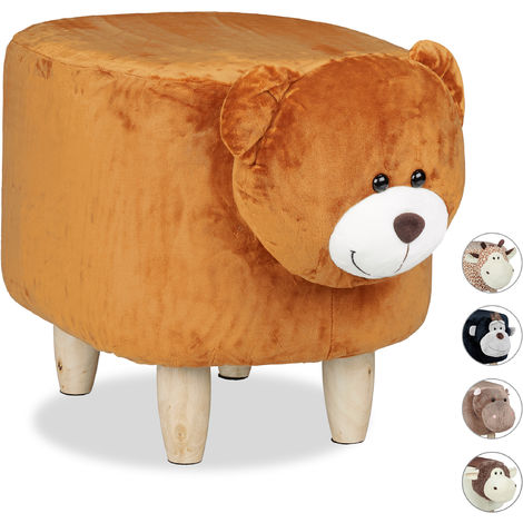 Relaxdays Children's Bear Stool, Padded, Cute Vanity Stool, Wooden with Cover, Brown