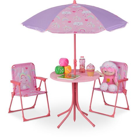 Relaxdays Children's Camping Furniture Set with Parasol, Folding Chairs & Table, Kids' Garden Ensemble, Assorted