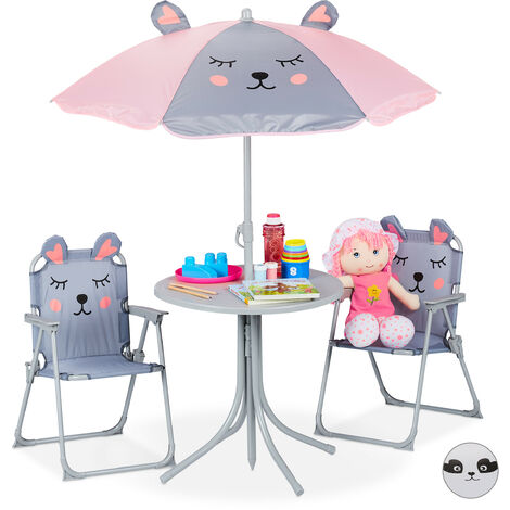 """main image of """"Relaxdays Children's Camping Furniture Set with Parasol, Folding Chairs & Table, Kids' Garden Ensemble, Mouse, Grey"""""""
