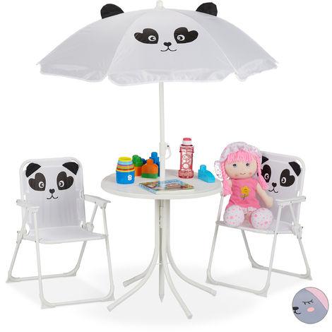 Relaxdays Children's Camping Furniture Set with Parasol, Folding Chairs & Table, Kids' Garden Ensemble, Panda, White