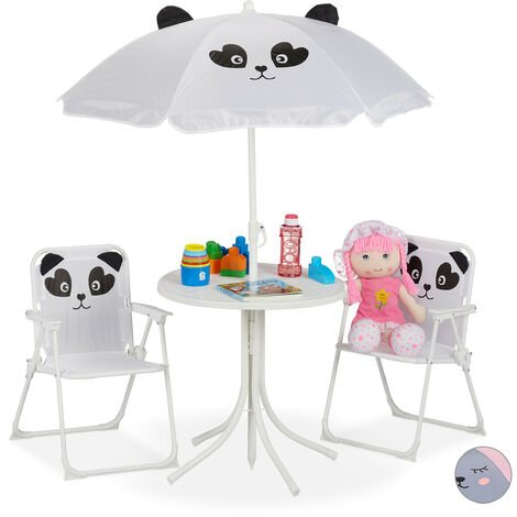 Relaxdays Children's Camping Furniture Set with Parasol, Folding Chairs & Table, Kids' Garden Ensemble, Panda, White