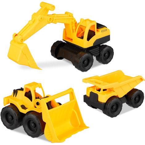 Relaxdays Children's Construction Site Vehicles, Set of 3, Excavator, Loader & Truck, Sandbox Toys, Plastic