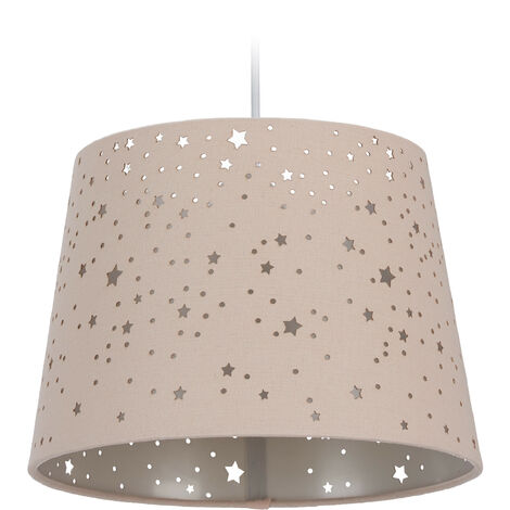 Relaxdays Children's Hanging Lamp with Star Design, Kids' Ceiling Light, Round Fabric Lampshade, Pink