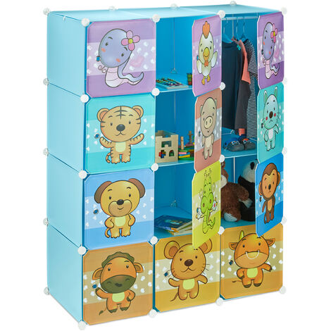Relaxdays Children's Modular Shelf, Cute Animal Prints, Plastic System, Doors, Wardrobe, Clothes Rails, Blue