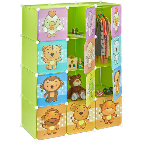Relaxdays Children's Modular Shelf, Cute Animal Prints, Plastic System, Doors, Wardrobe, Clothes Rails, Green