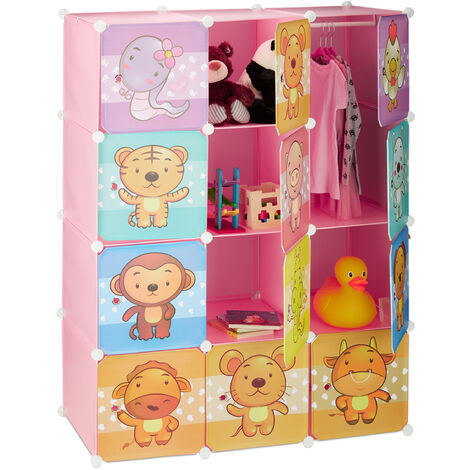 Relaxdays Children's Modular Shelf, Cute Animal Prints, Plastic System, Doors, Wardrobe, Clothes Rails, Pink