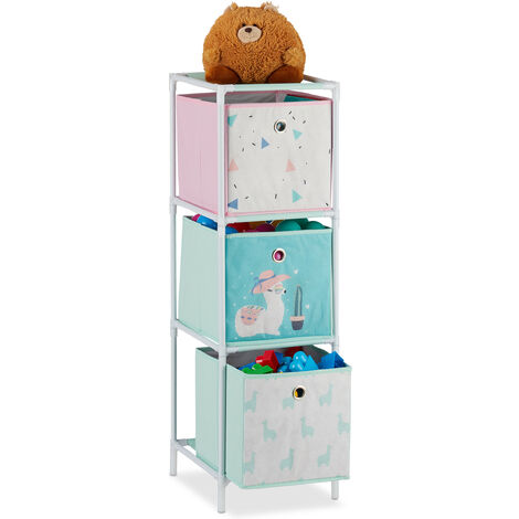 Relaxdays Children's Shelf with 3 Boxes, Toy Storage Stand, For Boys & Girls, Cute Lama Design, Colourful