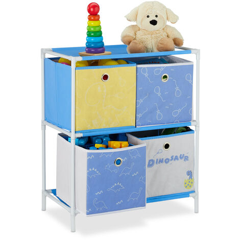 Relaxdays Children's Shelf with 4 Boxes, Toy Storage Stand, For Boys & Girls, Cute Dinosaur Design, Colourful