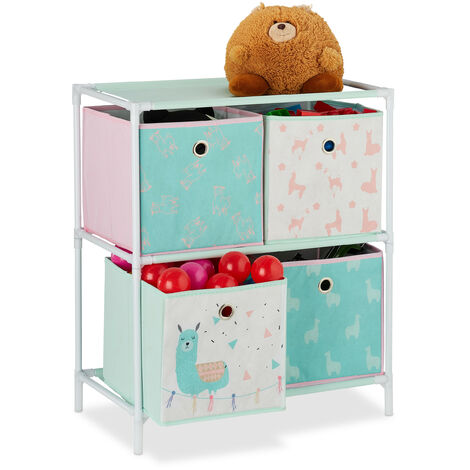 Relaxdays Children's Shelf with 4 Boxes, Toy Storage Stand, For Boys & Girls, Cute Lama Design, Colourful