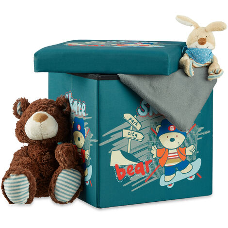 Relaxdays Children's Storage Ottoman, Foldable, with Storage Space, Toy Chest with Lid, HxWxD: 38 x 38 x 38 cm, Bear Motif