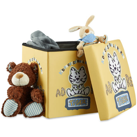 Relaxdays Children's Storage Ottoman, Foldable, with Storage Space, Toy Chest with Lid, HxWxD: 38 x 38 x 38 cm, Tiger Motif