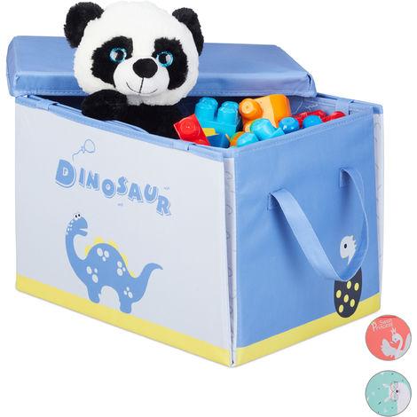 Relaxdays Children's Storage Ottoman, Folding, Lidded, With Handle, Dinosaur Toy Crate HxWxD: 29 x 41 x 31 cm, Blue