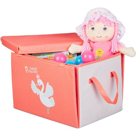 Relaxdays Children's Storage Ottoman, Folding, Lidded, With Handle, Princess Toy Crate HxWxD: 29 x 41 x 31 cm, Red