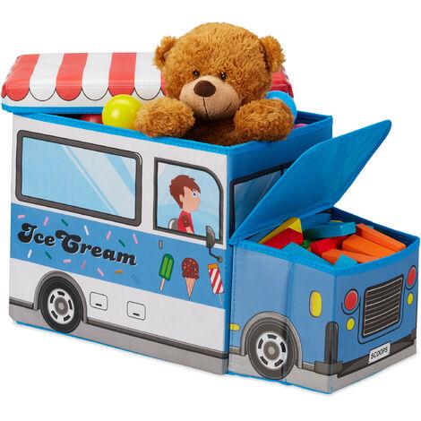 Relaxdays Children's Storage Ottoman, Lidded Toy Box, Folding, Boys & Girls, Ice Cream Design, 50 Litres, Blue