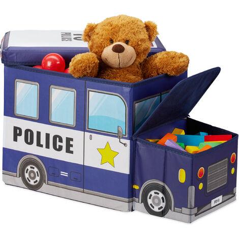 Relaxdays Children's Storage Ottoman, Lidded Toy Box, Folding, Boys & Girls, Police Design, 50 Litres, Dark Blue