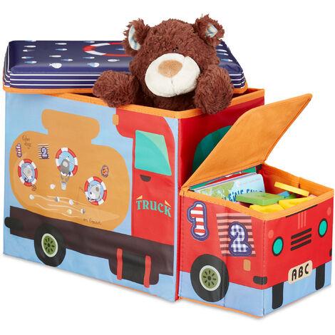 Relaxdays Children's Storage Ottoman, Lidded Toy Box, Folding, Boys & Girls, Sealife Design, 50 Litres, Blue