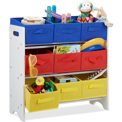 Relaxdays Children's Storage Shelf with 9 Removable Boxes with Handles, Toy Organiser, MDF, HxWxD: 62x63x28cm, White/Colourful