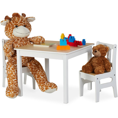Relaxdays Children's Table with 2 Chairs, Indoor Play Furniture Ensemble, 3-Piece Set, Robust, MDF, White/Natural