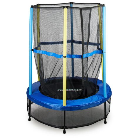 Relaxdays Children's Trampoline, Safety Net, Bungee Rebounder, Outdoor, HxWxD: 172 x 143 x 143 cm, Blue-Black-Yellow