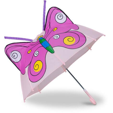 "main image of ""Relaxdays Children's Umbrella 3D Butterfly, Kids Umbrella for Girls, Pink"""