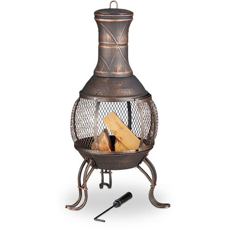 Relaxdays Chiminea, Fire Poker, Grate, Spark Guard, Garden, Patio, Antique Look Fire Pit, Height 89 cm, Bronze