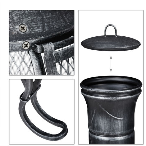 Relaxdays Chiminea, Patio Heater, Poker, Grate, Spark Guard, Patio,Terrace, Antique Look, Firepit, Height 89 cm, Grey