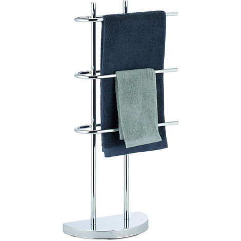 """main image of """"Relaxdays Chrome Towel Rack, 3 Tiers, Half-Round Base, Freestanding Towel Holder, Metal, HWD: 83x40x18 cm, Silver"""""""