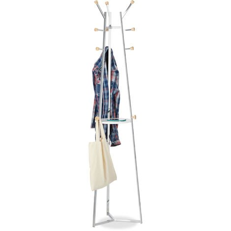 Relaxdays Chrome Wardrobe Stand, Freestanding Wardrobe and Coat Rack, Hallway Tree, 12 Hooks, With Tray, HWD 181x42x42 cm, Silver