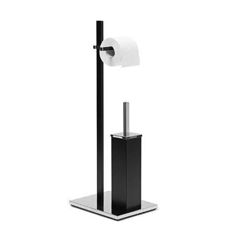 Relaxdays Chromed Steel Toilet Butler, approx 73 x 21.5 x 27.5 cm, Square Toilet Free-Standing Butler, Modern with Toilet Roll Holder and Toilet Brush in Hygenic Plastic Holder, Black
