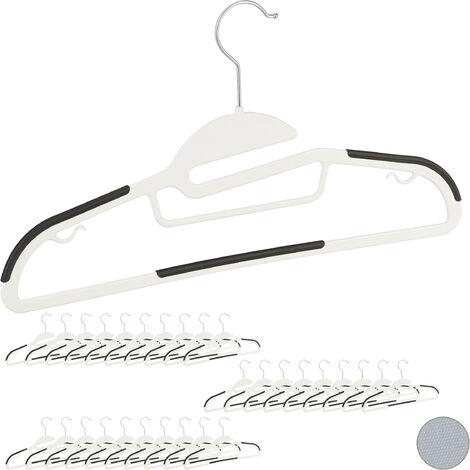 Relaxdays Clothes Hanger Set, Pants Rail, Dresses, Skirt, Tie Holder, Non-Slip, 360° Swivel, Pack of 30, White