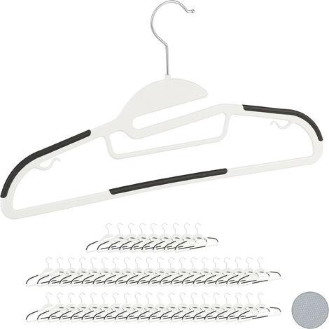 Relaxdays Clothes Hanger Set, Pants Rail, Dresses, Skirt, Tie Holder, Non-Slip, 360° Swivel, Pack of 50, White