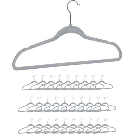 Relaxdays Clothes Hanger Set, Pants Rail, Dresses, Skirt, Velvet, Non-Slip, 360° Swivel, Pack of 30, Grey